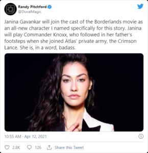 Janina Gavankar Randy PItchford Tweet